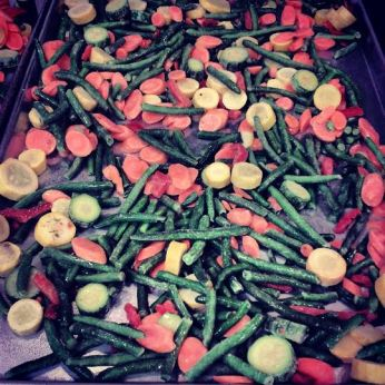 Frozen Veggies, straight onto a sheet pan